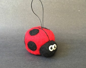 Needle Felted Ladybug Ornament, essential oil diffusing ornament