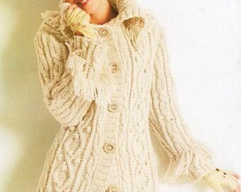 PDF Knitting Pattern - Ladies Fringed Aran Coat - Instant Download