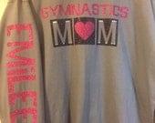 Gymnastics mom, volleyball mom, baseball mom, soccer mom, basketball mom, football mom, softball mom, long sleeve glitter shirt