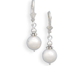 Sterling Silver White Cultured Freshwater Pearl with Bali Bead Lever Earrings