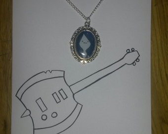 Marceline the Vampire Queen Axe Bass Guitar Adventure Time Hand Painted Card with matching Cameo Necklace