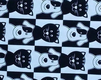 Dogs and Cats, Black and White, border print fabric, stripe fabric