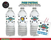 PAW PATROL Bottle Labels and Favor Tags for Birthday Party - Printable File - DIY Print - Personalized - Paw Patrol Inspired Puppy Party