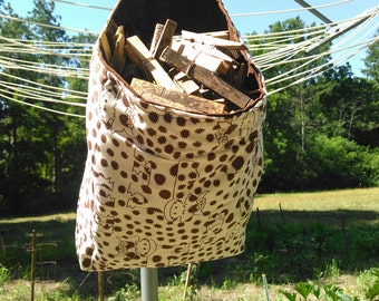 Cow Hanging Fabric Clothespin Holder