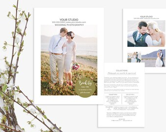 Wedding Photography Marketing Price Guide, Photoshop Template for Wedding Photography, 5x7 and 8.5x11, Love, WM200