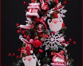 OOAK Light Up Chrismas Tree Mini XMAS Putz Shabby Chic Country RAZ Santa Snowman