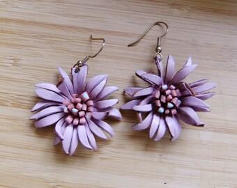 leather earrings, flower earrings, 70s earrings,