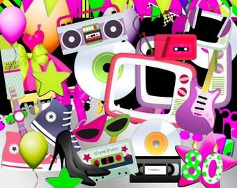 80s Scrapbook, 1980s, 80s Scrap Kit, Instant download, 80s Clipart, Digital Scrapbook, 80s Parties, Digital Scrapbook