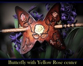 Yellow Rose Hair Barrette, Think Spring & Summer with this Leather Butterfly hair Barrette with upscale walnut nicely varnished wood stick.