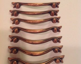 7 Vintage Copper Door or Drawer Pulls in Very Good Condition