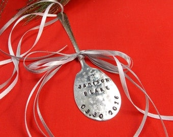 Baby's First Christmas Ornament, Baby's First Personalized Spoon Christmas Ornament, Baby's 1st Ornament, Vintage Silver Plated, Under 20