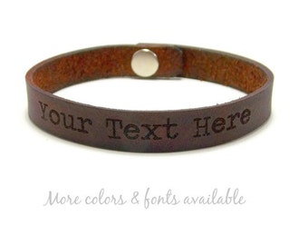 Engraved Bracelet, Choose Your Text, Custom Leather Bracelet, Laser Engraved Bracelet, Gifts Under 15