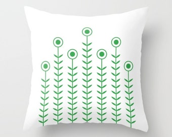 36 colours, Minimalist Flowers Decorative Pillow, Nordic, Classic Green decor, Scandinavian style Cushion pillow, Indoor or Outdoor cover