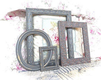 Shabby Vintage Distressed Ornate Slate Gray Carved Gesso Picture Photo Frames Set of 4 Cottage Industrial Cottage Chic