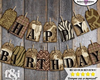 Safari Banner | Safari Party Bunting Banner | Jungle Safari Banner | Vintage Safari Banner | African Safari Party Decoration | Printable
