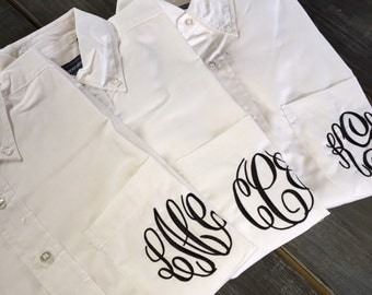 Monogrammed Oxford, Monogrammed Button Down, Bride/Bridesmaids Shirts, Getting Ready Shirts, Oversized Monogrammed Button Down Shirts