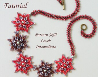ETINCELLE beaded necklace beading tutorial beadweaving pattern seed bead beadwork jewelry beadweaving tutorials beading pattern instructions