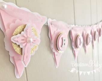 Christening Decoration. Christening Banner.  Girl Baby Shower Decoration.  Baby Shower Banner. Baby Photo Prop - Made to Order