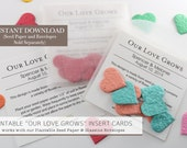 DIY Printable Wedding Favor Insert Cards, Use with Seed Paper Confetti & Glassine Envelopes (sold separately), Our Love Grows Wedding Favor