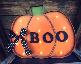 lighted sign marquee halloween sign lighted marquee sign boo sign rustic sign - Lighted Marquee Letters