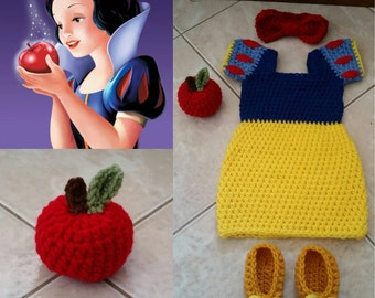 Crochet Snow white Outfit (dress, headband, booties and apple)