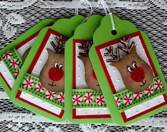 Christmas gift tags with reindeer