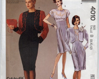 Lined Bolero Jacket And Short Sleeved Dress With Empire Waistline Front Tucks Back Darts Size 8 10 12 Sewing Pattern 1988 McCalls 4010