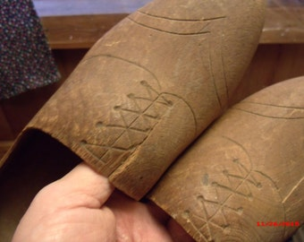 Vintage Netherlands WORN wooden shoes, Hand carved wood shoes, Holland clogs......
