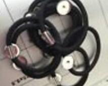 50pcs Hair Elastic Ring w/ 14mm Round Metal Base(Ponytail Holder..Hair Ties.. For DIY Hair Accessories)
