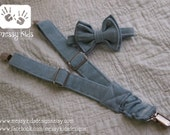 Ready to SHIP Light Blue Denim NB Adjustable BowTie and Suspender Set by Messy Kids Designs