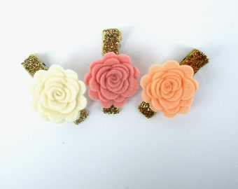 Baby Hair Clips - Baby Hair Clips in Rose and Cream