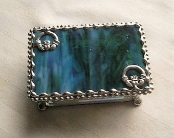 Stained Glass Jewelry Box|Claddagh|Irish|Claddagh Jewelry Box|Love & Friendship|Jewelry|Jewelry Storage|Sea Foam|Handcrafted|Made in USA