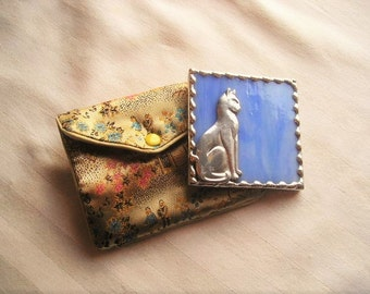 Stained Glass Purse Mirror|Pocket Mirror|Cat|Blue|Mirror with Pouch|Bath & Beauty|Makeup Tool|Handcrafted|Made in USA