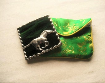 Stained Glass Purse Mirror|Pocket Mirror|Horse|GallopingHorse|Green|Green Pouch|Bath & Beauty|Makeup Tool|Handcrafted|Made in USA