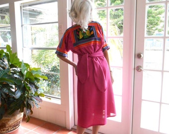 Vintage Crossroads MS dress Lakehills Texas owl mola casual hippie boho Panama Columbia: small, medium