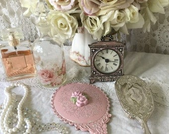 Shabby Pink Handheld Vanity Mirror, Dressing table mirror, Pink Rose, chippy distressed, vintage insired hand mirror, shabby cottage chic