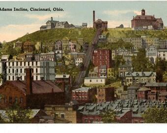 Vintage Postcard, Cincinnati, Ohio, Mount Adams Incline, ca 1920