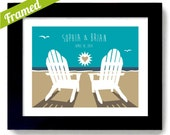 Beach Wedding Gift Adirondack Chairs Framed Print Personalized Gift Framed Wedding Gift Beach Chairs Anniversary Gift Beach Wedding Decor