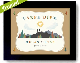 Carpe Diem Outdoorsy Couple Wedding Gift Nature Lovers Couples Gift Framed Art Print Newlywed Adventure Canoe Camping Hiking Art