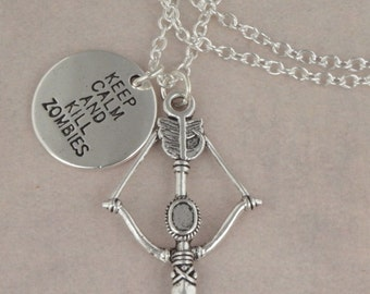 Zombie Hunter Crossbow Necklace For The Walking Dead Zombie Apocalypse - Keep Calm & Kill Zombies - Men's Unisex Necklace - Zombie Jewellery