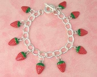 Strawberry Tiki Charm Bracelet - Vintage Inspired - Rockabilly Pinup Jewellery - Retro 50s Kitsch Bracelet - Fruit Jewellery