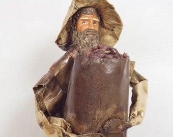 Vintage Mexican Paper Mache Folk Art Doll // Man Carrying a Large Bag of Beans // Folk Art Figurines // Souvenir // Statues