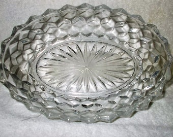 Fostoria American Oval Bowl Elegant Glass Cube Pattern American Bright Collectible Glass Vegetable Serving Bowl