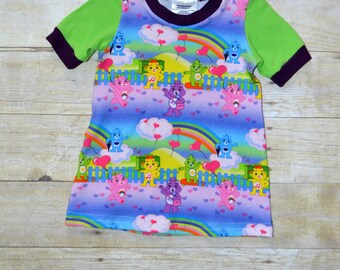 CLEARANCE - 9-12mo T-Shirt Dress, Jersey Knit Baby Dress, Infant Clothes, Teddy Bears, Care Bears Inspired, Made by The Corduroy HIppo
