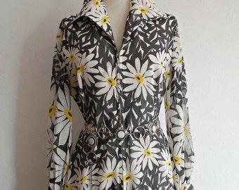 ONCE UPON A Daisy . L Gorgeous Flower Print Maxi Dress 1970s Cotton Mix Voile