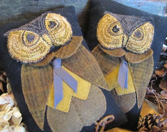 Primitive Punch Needle Wise Old Owl Pattern