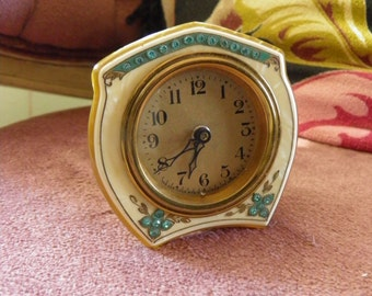 Antique Celluloid and Rhinestone Vanity Working Alarm Clock