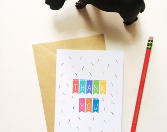 Colorful Thank You Card - Thank You Card - Colorful Thank You Notes - Colorful Kids Thank Yous - Kraft card stock envelopes