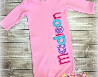 Pink Baby Gown - Baby girl coming home outfit - Monogrammed baby gown - Baby Shower gift for girl
