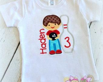 Boys Birthday Bowling shirt - Little boy bowling embroidered shirt - bowling birthday party - custom embroidered shirt